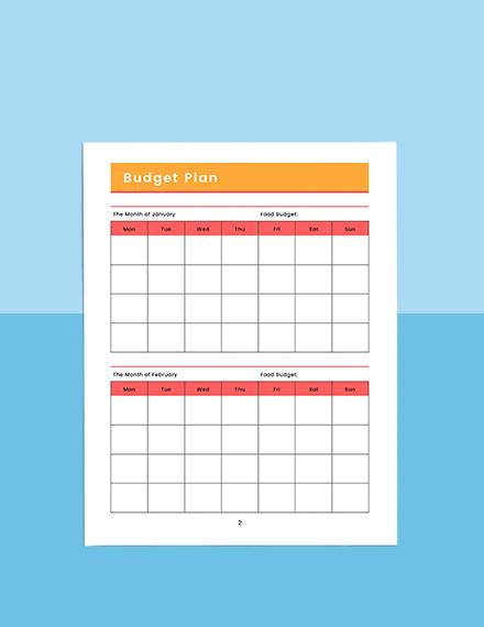 Monthly menu planner Sample