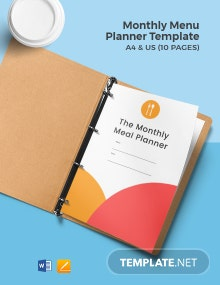 Free Sample Monthly Menu Planner Template