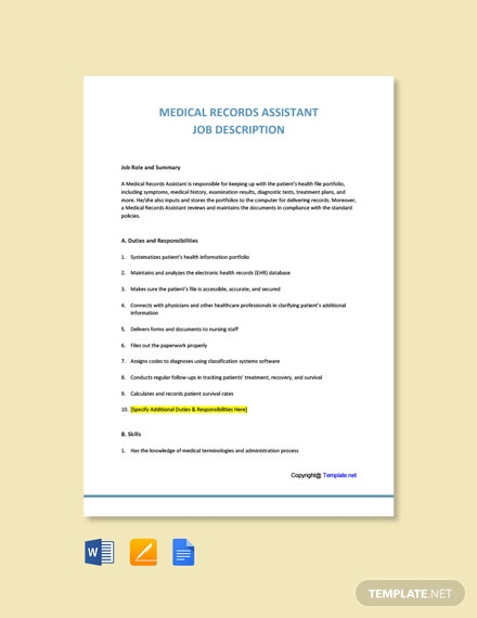 Free Medical Records Assistant Job Description Template