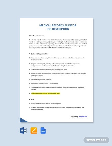 Free Medical Records Auditor Job Description Template