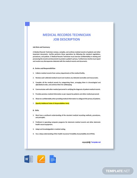 Medical Records Technician Job Description Template
