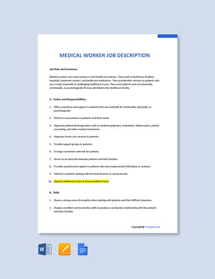 Free Medical Worker Job Description Template