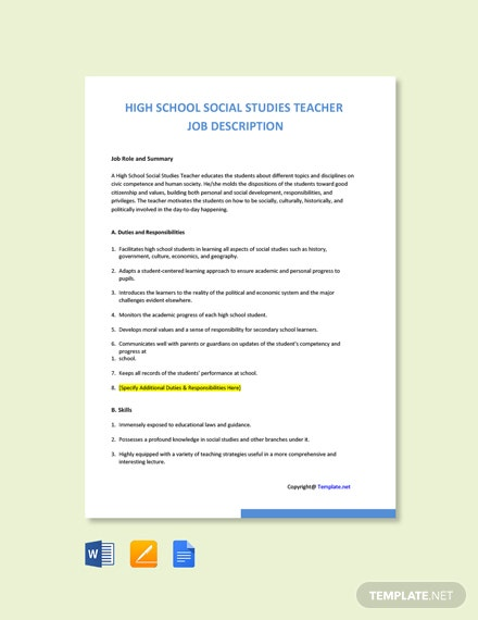 Free High School Social Studies Teacher Job Ad/Description Template