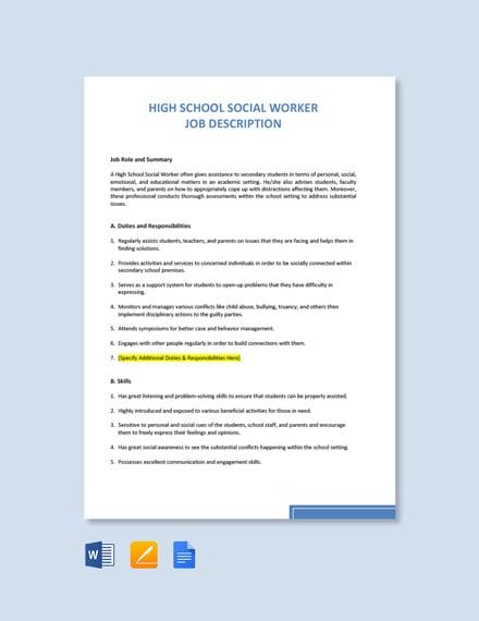 Free High School Social Worker Job Ad/Description Template