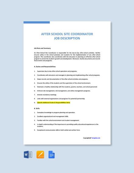 Free After School Site Coordinator Job Ad/Description Template