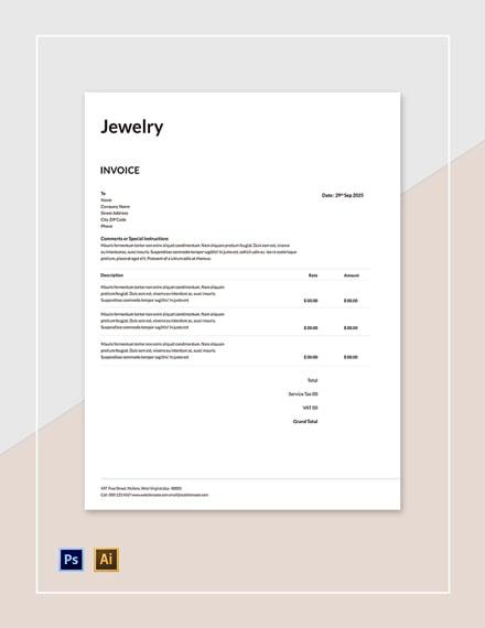Free Jewelry Invoice Template