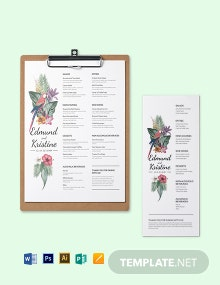 Unique Wedding Menu Template