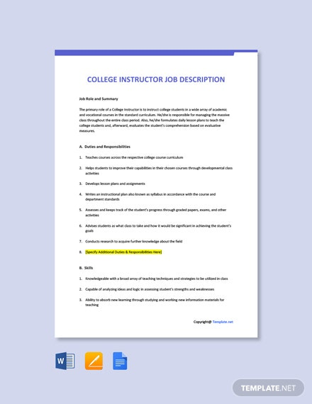 Free College Instructor Job Ad/Description Template