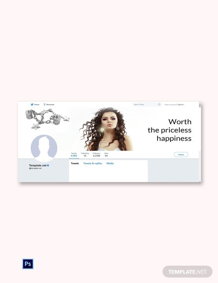 Jewelry Twitter Cover Page Template [Free PSD]
