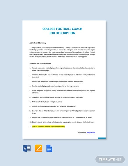 Free College Football Coach Job Description Template
