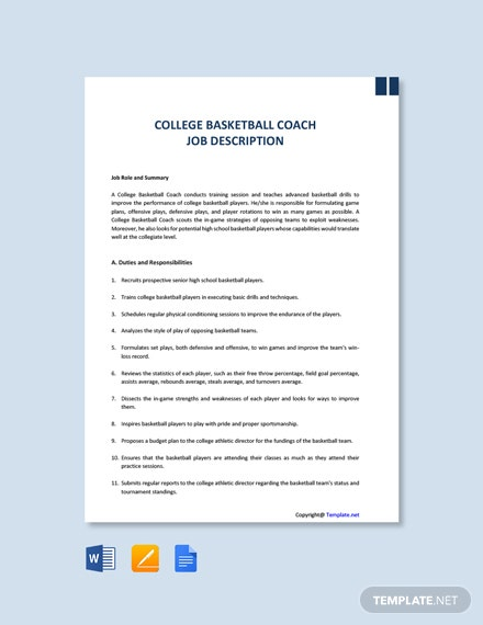Free College Basketball Coach Job Description Template