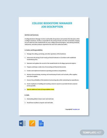 Free College Bookstore Manager Job Description Template