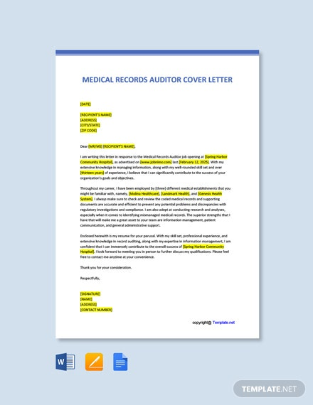Free Medical Records Auditor Cover Letter Template
