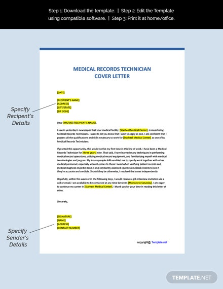 Medical Records Technician Cover Letter Template Free Pdf Google Docs Word Template Net