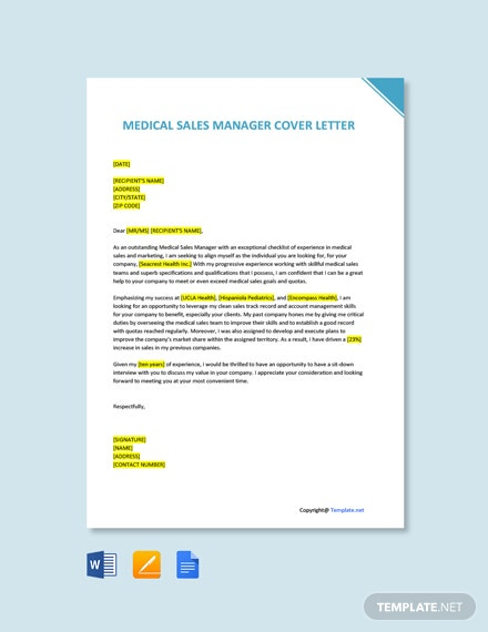 Free Medical Sales Manager Cover Letter Template
