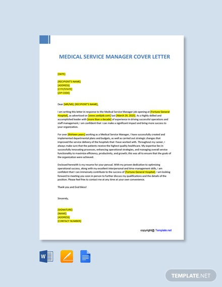 Free Medical Service Manager Cover Letter Template