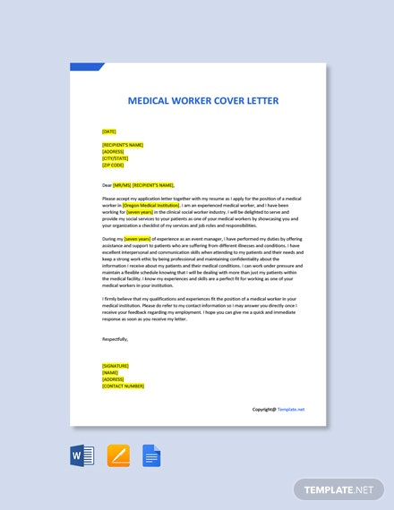 Free Medical Worker Cover Letter Template