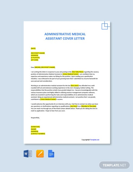 Administrative Medical Assistant Cover Letter Template Free Pdf Google Docs Word Template Net