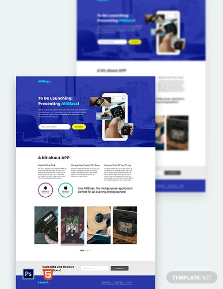 App launching Landing Page Template