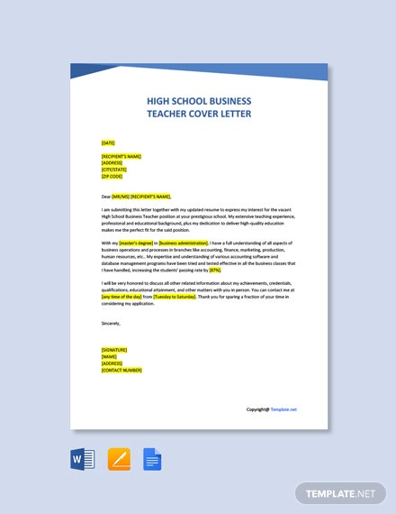 Free High School Business Teacher Cover Letter Template