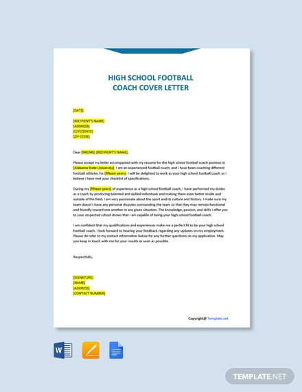 Free High School Football Coach Cover Letter Template