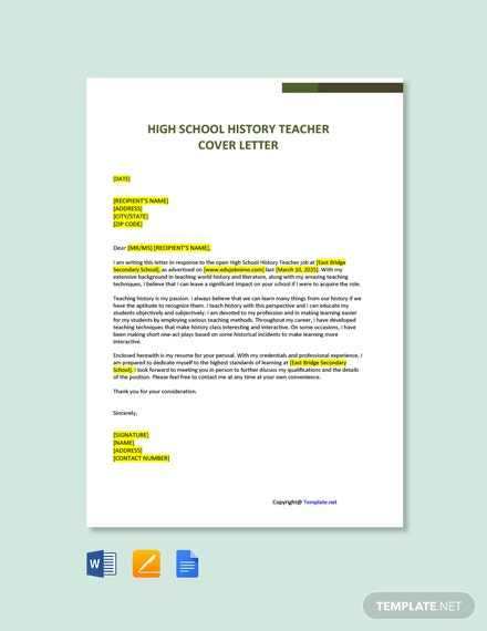 Free High School History Teacher Cover Letter Template