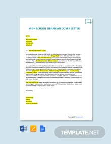 Free High School Librarian Cover Letter Template