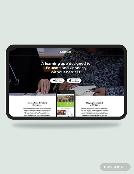 Education App Landing Page Download
