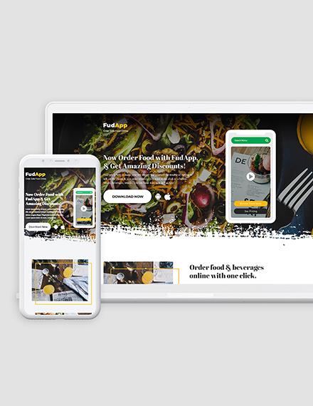 Food App Landing Page Download