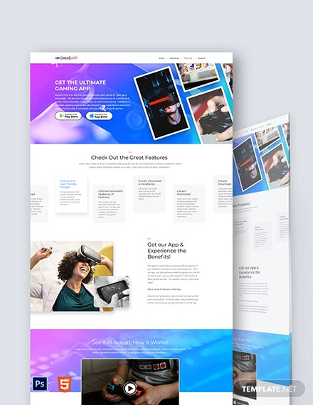Game App Landing Page Template