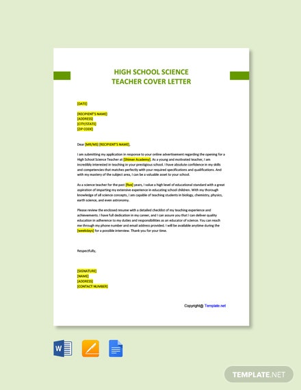 Free High School Science Teacher Cover Letter Template