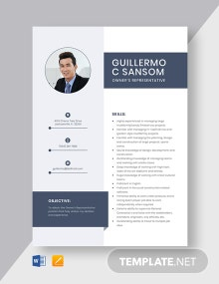 Owner's Representative Resume Template