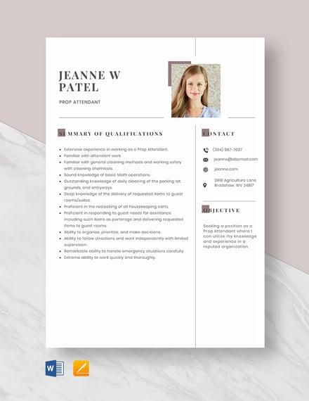 Prop Attendant Resume Template