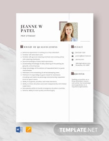 Prop Attendant Resume Template