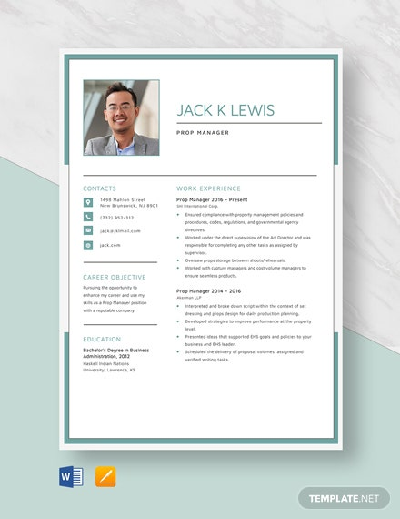 Prop Manager Resume Template