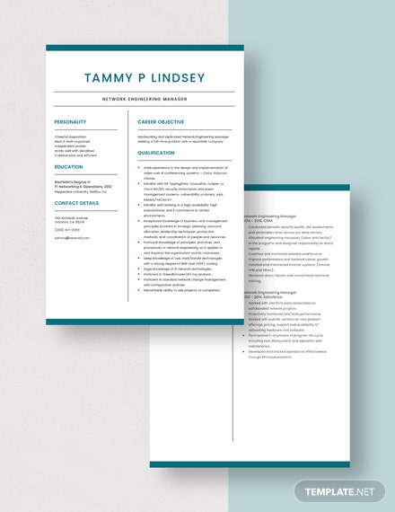 Network Engineering Manager Resume Download