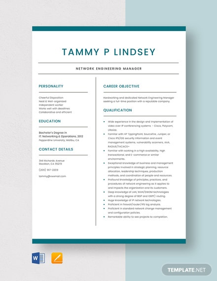 Network Engineering Manager Resume Template