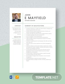 Network Manager Resume Template