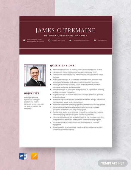 Network Operations Manager Resume Template