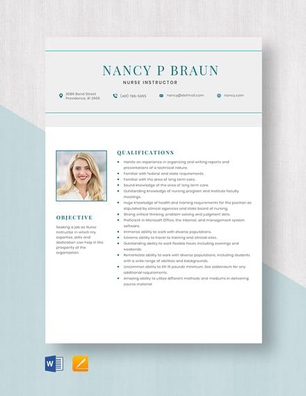 Nurse Instructor Resume Template