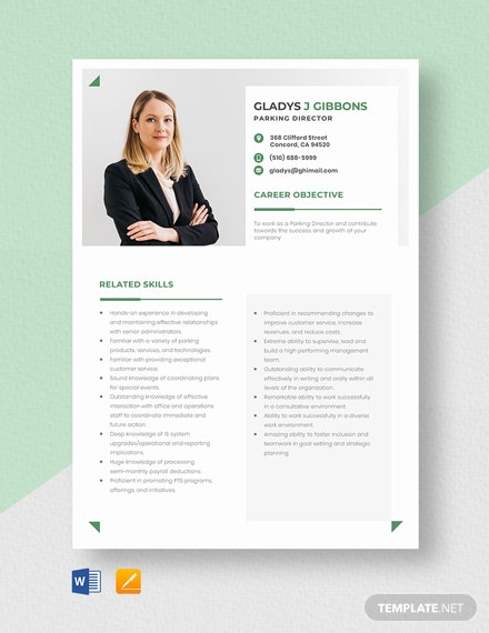 Parking Director Resume Template