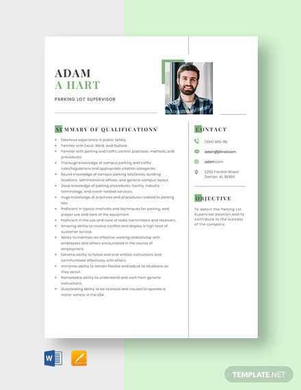 Parking Lot Supervisor Resume Template