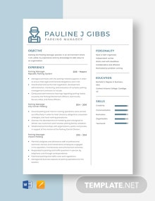 Parking Manager Resume Template