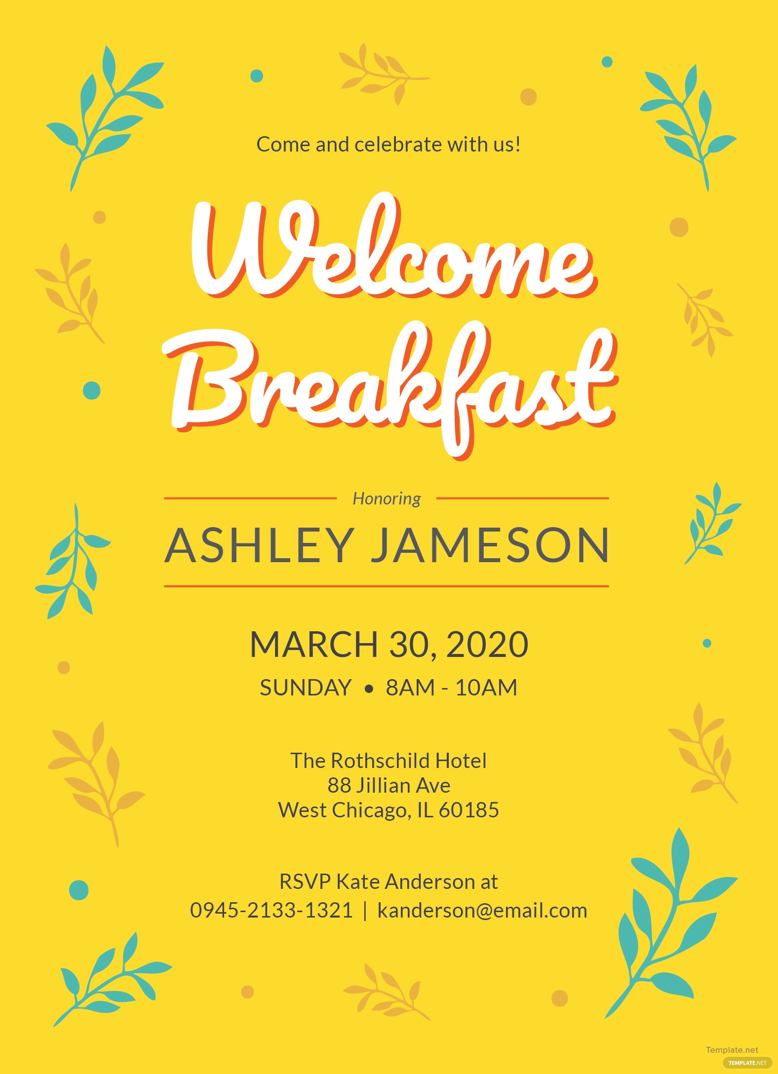 welcome breakfast invitation template in adobe photoshop  illustrator