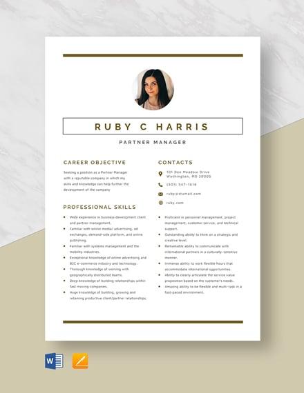 Partner Manager Resume Template