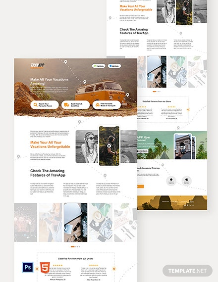 Travel App Landing Page Template