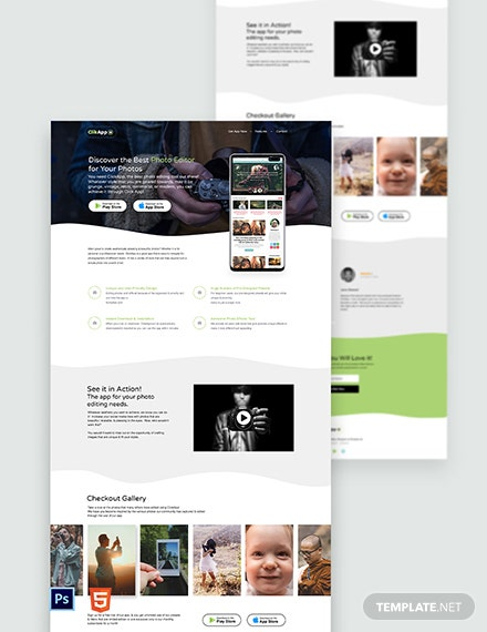Photography App Landing Page Template