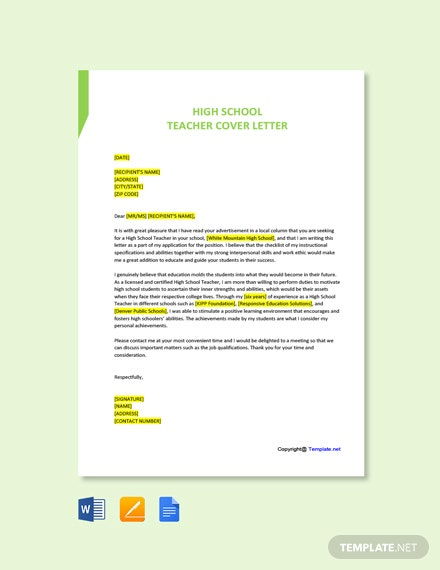 Free High School Teacher Cover Letter Template