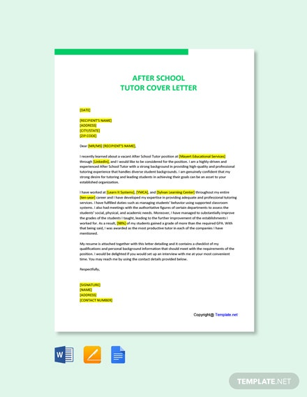 Free After School Tutor Cover Letter Template