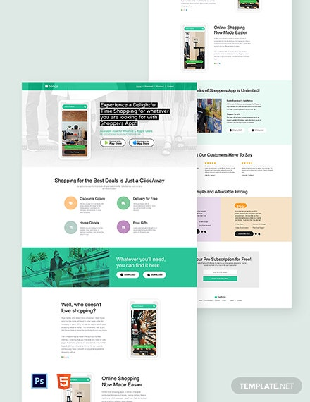 Shopping App Landing Page Template